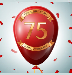 Red balloon with golden inscription 75 years vector