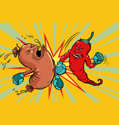 Red pepper beats a sausage the victory of vector