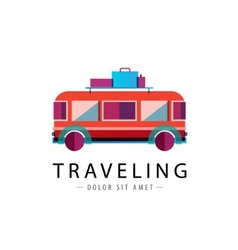 Retro bus logo traveling icon vector