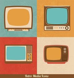 Retro Television Icons vector image vector image