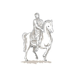 Roman emperor soldier riding horse vector