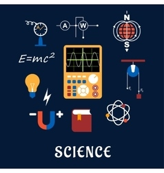 Science physics flat icons set vector
