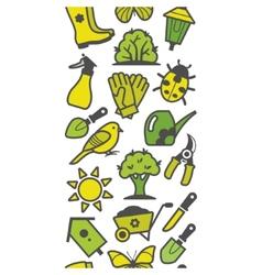 Seamless pattern of green garden tools vector