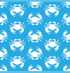 seamless pattern with crabs seafood vector image