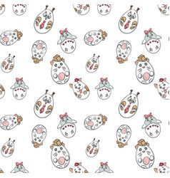 seamless pattern with cute animals in a shape of vector image