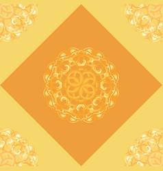 seamless pattern with orange ornamental decor vector image