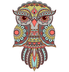 Serious owl with various pattern vector