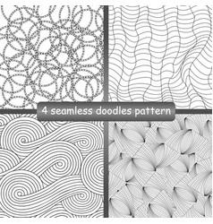 Set of 4 doodles seamless patterns and textures vector