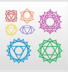 Set of beautiful indian ornamental 7 chakra vector