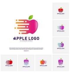 Set of tech apple logo concept fast apple vector