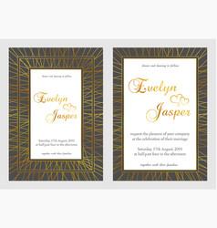 set of wedding invitations on a dark black gray vector image