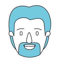 silhouette cartoon front view face man with beard vector image