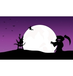 Silhouette of warlock witch and monster halloween vector