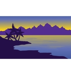Silhouette oof beach and mountain vector