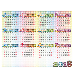 Simple colorful calendar of 2018 year vector