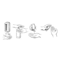 sketch hands sanitizers person clean hand with vector image