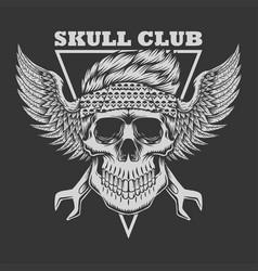 skull club biker vector image