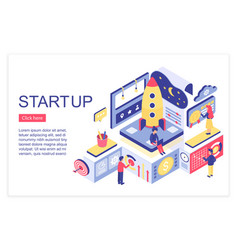 startup team working landing page isometric vector image