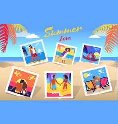 Summer love poster with photos of couples set vector