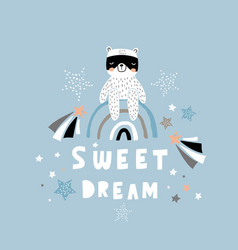 sweet dream creative lettering concept childish vector image