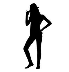 teen girl posing in hat silhouette vector image