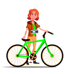teen girl with bicycle city bike outdoor vector image