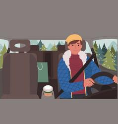 Teenage boy traveling in car alone winter trip vector