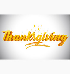 Thanksgiving golden yellow word text with vector