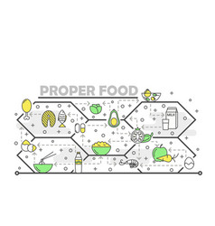 thin line art proper food poster banner vector image
