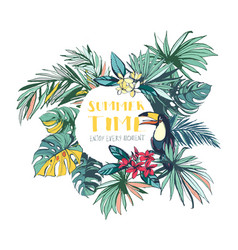 tropical floral summer beach party invitation vector image