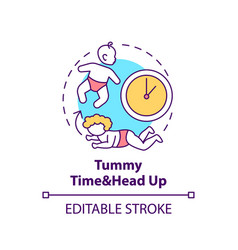 Tummy time and head up concept icon vector