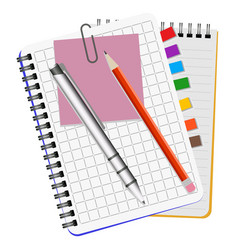 two notebooks white pen and red pencil vector image
