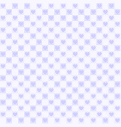 violet checkered pattern with hearts seamless vector image