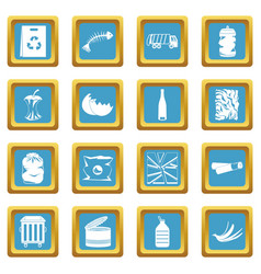 waste and garbage icons azure vector image
