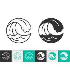 water wave simple splash black line icon vector image