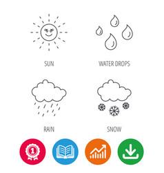 Weather sun and rain icons snow vector