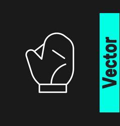 white line baseball glove icon isolated on black vector image