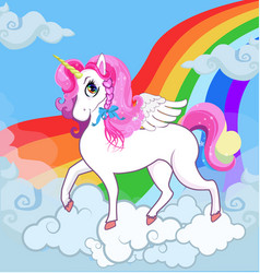 White unicorn with pink hair on sky with rainbow vector