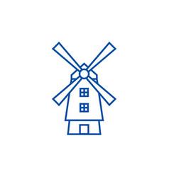 windmillholland line icon concept windmill vector image