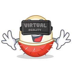 With virtual reality rambutan mascot cartoon style vector