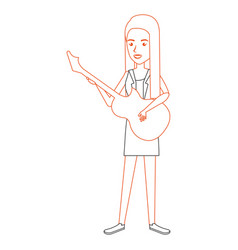 woman playing guitar electric character vector image