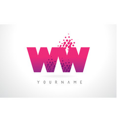 ww w letter logo with pink purple color and vector image