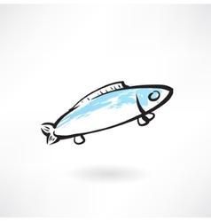 fish grunge icon vector image
