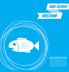 fish icon on a blue background with abstract vector image