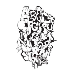 Graffiti font black and white composition vector image vector image