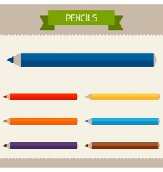 Pencils colored templates for your design in flat vector image