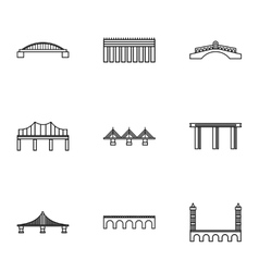 Bridge icons set outline style vector image vector image