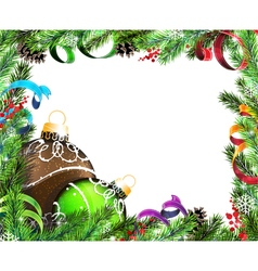 Christmas wreath with green and brown baubles vector