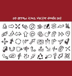 doodle arrow icons set vector image vector image