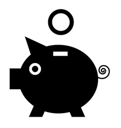 Piggy Bank Black Pig Icon with Coin Flat Design vector image vector image
